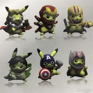 Les chiffres Avengers Bikachu PVC action Bikachu Iron Man Captain America Thor Poupée Pocket Monstre Anime Film périphérique Poupées Jeux d'enfants