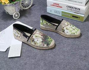 2019ss bayan moda Çiçek Tuval Slip-on Espadrilles nedensel ayakkabı 20mm Halat ve kauçuk taban boyutu euro 35-41