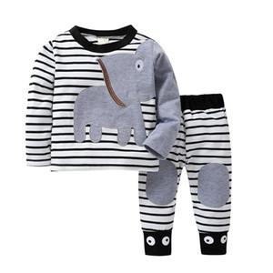 Humor Bear 2019 New Christmas Baby Girl Clothes Imposta Boy Suit Boy stampa a strisce Cartoon Design T-shirt + pantaloni