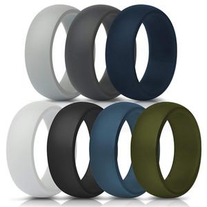 MOQ bajo 7pcs tamaño de envase unisex 7-14 orden mezclada del anillo de bodas de silicona flexible de silicona O-Anillo de bodas ajuste cómodo anillo Multicolor