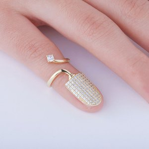 Bling Bling Gold Silver Rose gold Nail Ring Hip Hop Fashion Nail Ring Adjustable Nail Ring Jewelry Gift For Women