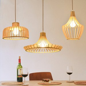 İskandinav Ağaç Aydınlatma Armatür Yemek Odası Lambası Modern Kısa Wood Bar kolye Lambası Asma