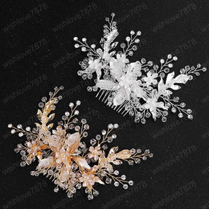 Lüks Gelin Kafa Gümüş / Altın Rengi Saç Tarak El yapımı Çiçek Şekilli Saç iğneler Headpeice Düğün Saç Takı Aksesuar