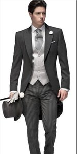 Morning Style Groomsmen Peak Lapel Groom Tuxedos One Button Men Suits Wedding Prom Dinner Best Man Blazer ( Jacket+Pants+Tie+Vest ) B461
