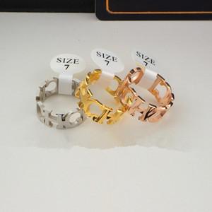 Anello a forma di lettera collegata a CH per anello da donna in oro rosa 18 carati placcato in titanio