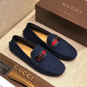 Männer 18SW Luxusschuhe echtes Leder Beleg auf Schuhen für Männer chaussures hommes en cuir Mannschuhe Luxusmarken Faulenzer sepatu pria blau