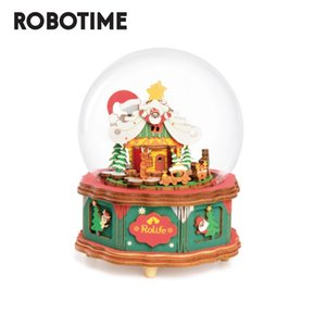Robotime 2020 New Arrival DAY Christmas Town Puzzzle Game Assembly 3d Music Box Toy Gift for Children Adult AM46 Y200413