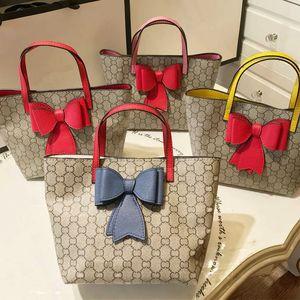 Moda Nuevos bolsos de aplique de conejo de lujo para niñas Dobles Bows Princess Handbag Lady Style Girls letra impresa un hombro bolsas A2805