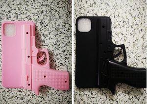 Por la manera del iphone 11 MAX PRO 6.5 5.8 6.1 PULGADAS 3D creativa forma de pistola de moda Cap PC + TPU caja del juguete de goma de la piel del teléfono 1pcs Cubierta de lujo