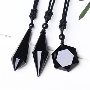 Black Obsidian Pendentif Collier Obsidian Star Pendentif Lucky Love Bijoux en Cristal Avec Corde Gratuite Guérison Reiki Cadeau
