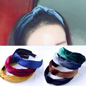 Новая мода крест оголовье Женщины Twisted Тюрбан Группа волос Stretch Knotted Velvet Bow обруча Аксессуары для волос Headwrap
