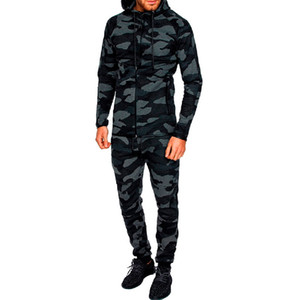 Litthing Mens Two Piece Sets Camo Printed Hoodies Pullover Pants Sportwear tracksuit Suit Autumn Male Camouflage Top Trouser Set