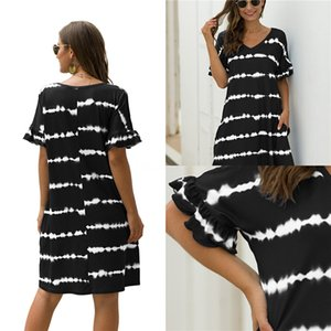 Womens Mixed Dyeing Printed Womens Dresses Crew Neck Loose Short Sleeve Dresses Summer New Casual Fashion Apparel#700