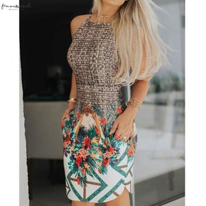 Women Ladies Boho Round Neck Braided Floral Fashion High Waist Sleeveless Summer Casual Beach Mini Dress Sundress