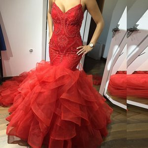 Red Spaghetti Strap Beaded Evening Dresses Sleeveless Lace Appliques Ruffles Tulle Skirt Formal Evening Gowns Prom Dress