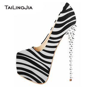 Womens Zebra Stripper Heels Shoes Mulher Ultra High Heel Bombas Studded Sexy Sapato Plataforma Rodada Toe Ladies Spikes Heeled Calçado