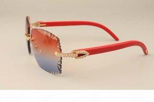 2019 óculos de sol de diamante de luxo da nova fábrica 3524014 Óculos De Sol De Madeira Vermelho natural lente de gravura lente personalizada privada prata dourada
