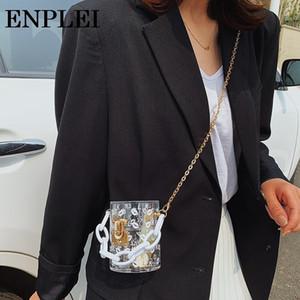 Borse e la catena della spalla borse del sacchetto disegno della scatola di Crossbody Mini Party Bag frizione Stampa donne Totes trasparente Nuovo sexy