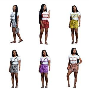 Trajes de Verão Meninas Moda Ternos de Manga Curta T Camisa Solta Tops + Casual Shorts De Impressão Cobra 2 Peça Set Roupas de Grife Ocasional Designer