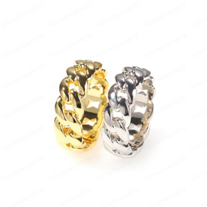 Unisex Trendy Men Women Rings Gold Silver Colors Smooth Cuban Chain Rings For Men Women Fashion Jewelry