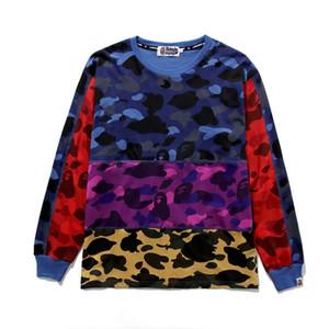 Casual Hip em torno do pescoço pulôver 2019 Outono Inverno Nova Homens Mulheres Red Camo azul costura Casual fina Hoodies de Men Hop Streetwear Sweater