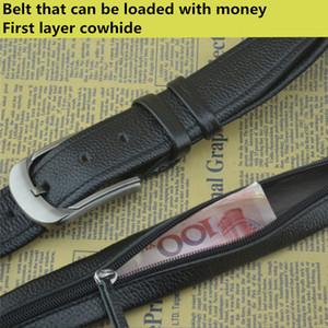 Cacher la ceinture à glissière peut mettre de l'argent couche supérieure en cuir ceinture boucle ardillon pour hommes ceinture Designer Secret Strap Pocket Hidden Money
