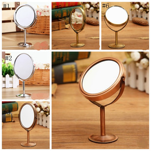 Makeup Mirrors Double Sided Cosmetic Mirror with 1:2 Magnifying Function Rotating Desktop Mirror Silver Brass 6 Designs 100pcs DSL-YW1635