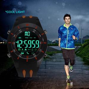 luxe numérique étanche grand cadran des montres-bracelets LED Affichage Chronomètre Sport extérieur Noir Horloge LED choc montre en silicone Men 8002