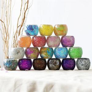 손으로 만들어진 원형 모자이크 유리 촛대 캔들 홀더 꽃병 홈 장식 웨딩 파티 촛불이 아닌 크리스마스