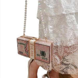 Yeni kristal Para USD çantaları Kadınlar Doları Tasarım Elmas Gece Çantası Parti Çanta Debriyaj Çantalar Düğün Yemeği Cüzdanlar Çanta