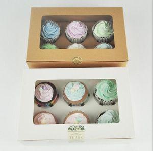 I titolari della carta kraft carta Cupcake Box 6 Cup Cake Muffin Torta Scatole Dessert portatile scatola di favore del pacchetto di sei regalo Tray