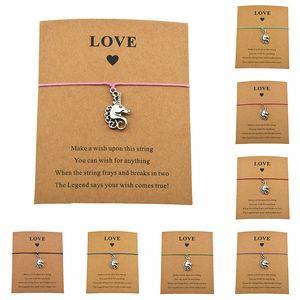 Presentes Chefe New antigo animal de prata do unicórnio do cavalo do amor Cartão pulseiras cabos de cera Mulheres Homens Raparigas Menino Unisex Sorte Jóias
