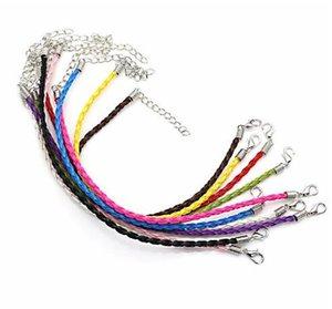 3MM اليدوية DIY نسج تويست سوار PU نسج حبل الجلود سوار الأزياء والمجوهرات DIY للنساء الرجال GB1587