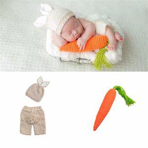 Neugeborene Fotografie Props reizender Kaninchen-Kostüm Ohren Hat + Pants + Karotte Handgemachte Baumwollgarn Studio Fotografie Kleidung