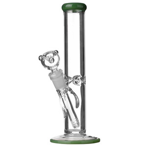 10 дюймов прямой трубы BONG зеленый мазок нефтяной вышке барботер высокой толщиной стакана мини стеклянной водопроводной трубы с 14 мм чаши