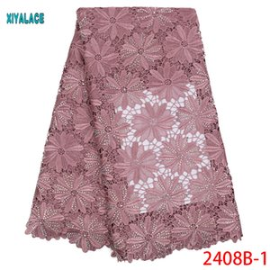 African Lace Fabrics 2020 Nigerian Swiss Voile Lace High Quality French Swiss Voile in Switzerland For Wedding YA2408B-1
