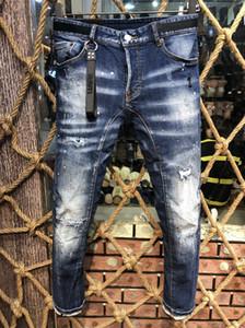 Jeans 2020 nova chegada Mid-cintura Calças Jeans Mens cintura fita emenda Mens Pants Designer Europeus E Americanos Ripped
