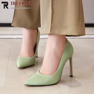 RIBETRINI Classic Ladies Super High Thin Heels Shoes Woman Solid Spring Office Pumps Women Sweet Pointed Toe Shallow Pumps