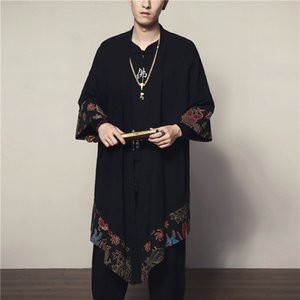 InEVz Autumn Juanzi coat lengthened National style cotton and linen casual cloak Chinese long shirt Cloak windbreaker Windbreaker windbreake