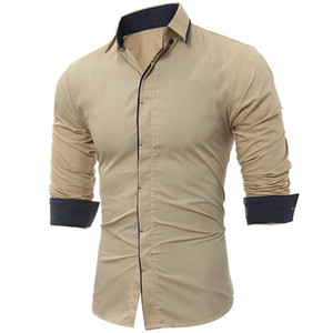 Mens Fashion Shirts Long Sleeves Tops Classic Dark Throttle Hit Color Side Male Dress Shirts Slim Shirts