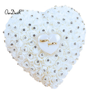 Favors Hang Pillow Transprent Box Heart Design With Rhinestone And Pearl Decor Wedding Ring Cushion Decoration Q190606