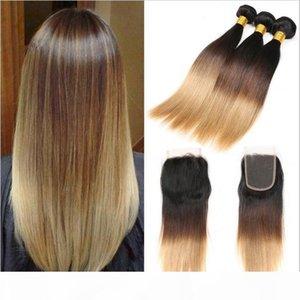 # 1B 4 27 Bal Sarışın Ombre Brezilyalı Saç 3Bundles Dantel Kapatma Koyu Kökler Üç Ton İpeksi Düz Ombre saç örgüleri ile Kapatma