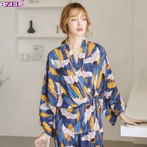 Pigiama Set Donna Completa Elegante Home Wear Abbigliamento da notte Pigiama donna Suit Autunno Gru Animal Print Kimono giapponese Cinghie J190613