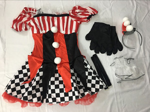 Halloween Costume Roupa Joker Atacado-Adulto engraçado Quinn Cosplay Womens Harlequin Fancy Dress Clown Circus Partido Vestido Cosplay