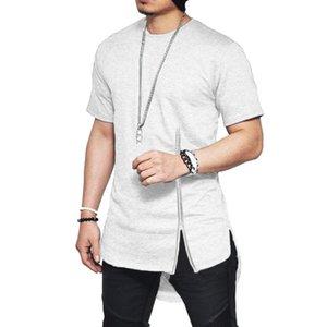 Mens Verão 19ss Camisetas Designer Hiphop O pescoço Manga Curta Tops Hombres Dividir Zipper Tees Roupa