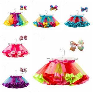 Ragazze Tutu Gonne Raninbow bambino Tulle fata Pettiskirt Ballet Gonne fascia Dancewear principessa Vestitino Stage di usura Abbigliamento AZYQ5466