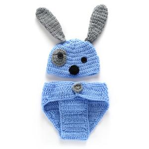 Crochet bébé nouveau-né chiot bleu tenues, tricoté à la main bébé garçon fille Animal Beanie Dog Cover et couche couverture Set, Infant Halloween Photo Prop