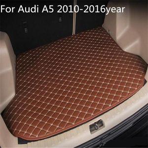 Für Audi A5 2010-2016year s Auto-Anti-Rutsch-Trunk Mat wasserfestes Leder Teppich Auto-Kofferraum-Matte Flat Pad