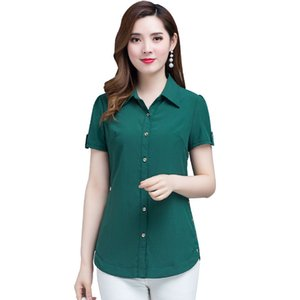Women Spring Summer Style Chiffon Blouses Shirts Lady Casual Short Sleeve Turn-down Collar Blusas Tops DF2668