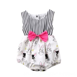 new fashion Newborn Baby Girl bodysuit Infant Bunny Clothing Sets Baby & Kids Clothing Rabbit striped Jumpsuit sleeveless Bodysuit Outfits
